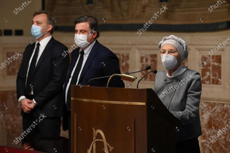 (L-R) Matteo Richetti, Carlo Calenda, Emma Bonino of Azione, + Europa, Radicali italiani, released a statement to the press after meeting Mario Draghi during the second round of consultations at the Chamber, Rome, Italy, 08 February 2021.
