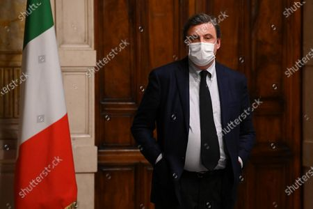 Carlo Calenda, of Azione, released a statement to the press after meeting Mario Draghi during the second round of consultations at the Chamber, Rome, Italy, 08 February 2021.