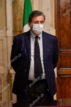 Stock Picture of Carlo Calenda leader of 'Azione' during a press conference after meeting with designated-prime minister Mario Draghi for the formation of a new government