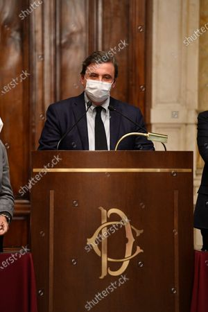 Carlo Calenda leader of 'Azione' during a press conference after meeting with designated-prime minister Mario Draghi for the formation of a new government