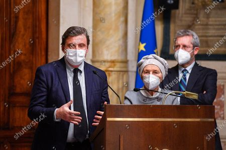 Carlo Calenda leader of 'Azione' , Emma Bonino member of + Europa during a press conference after meeting with designated-prime minister Mario Draghi for the formation of a new government