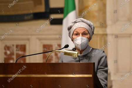 Emma Bonino member of + Europa during a press conference after meeting with designated-prime minister Mario Draghi for the formation of a new government