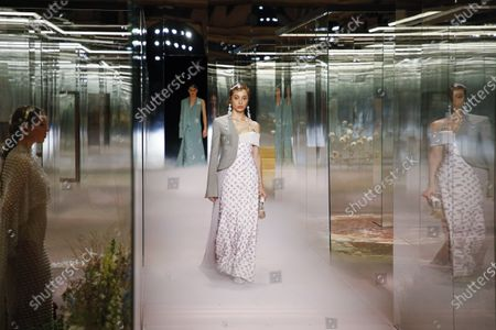 Stock Picture of Adwoa Aboah on the catwalk at the Fendi Fashion show in Paris, Spring Summer 2021, Haute Couture Fashion Week. Collection designed by Kim Jones