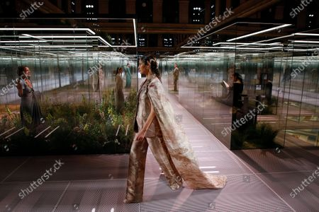 Stock Image of Christy Turlington on the catwalk at the Fendi Fashion show in Paris, Spring Summer 2021, Haute Couture Fashion Week. Collection designed by Kim Jones