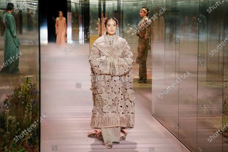 Stock Photo of Leonetta Luciano on the catwalk at the Fendi Fashion show in Paris, Spring Summer 2021, Haute Couture Fashion Week. Collection designed by Kim Jones