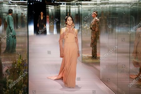 Delfina Delettrez Fendi on the catwalk at the Fendi Fashion show in Paris, Spring Summer 2021, Haute Couture Fashion Week. Collection designed by Kim Jones