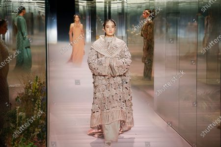 Leonetta Luciano on the catwalk at the Fendi Fashion show in Paris, Spring Summer 2021, Haute Couture Fashion Week. Collection designed by Kim Jones