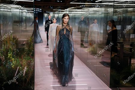 Bella Hadid on the catwalk at the Fendi Fashion show in Paris, Spring Summer 2021, Haute Couture Fashion Week. Collection designed by Kim Jones