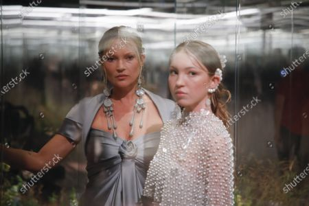 Kate Moss and Lila Moss on the catwalk at the Fendi Fashion show in Paris, Spring Summer 2021, Haute Couture Fashion Week. Collection designed by Kim Jones