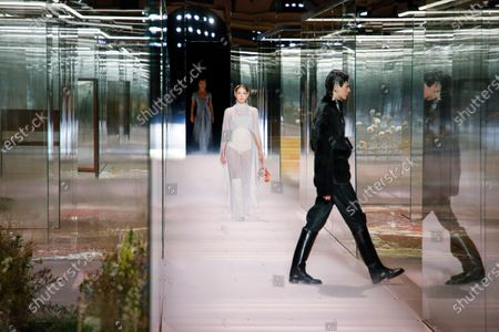 Stock Photo of Lila Grace Moss Hack on the catwalk at the Fendi Fashion show in Paris, Spring Summer 2021, Haute Couture Fashion Week. Collection designed by Kim Jones