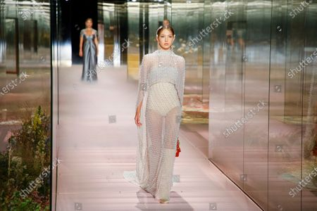 Lila Grace Moss Hack on the catwalk at the Fendi Fashion show in Paris, Spring Summer 2021, Haute Couture Fashion Week. Collection designed by Kim Jones