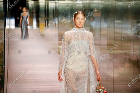 Stock Image of Lila Grace Moss Hack on the catwalk at the Fendi Fashion show in Paris, Spring Summer 2021, Haute Couture Fashion Week. Collection designed by Kim Jones