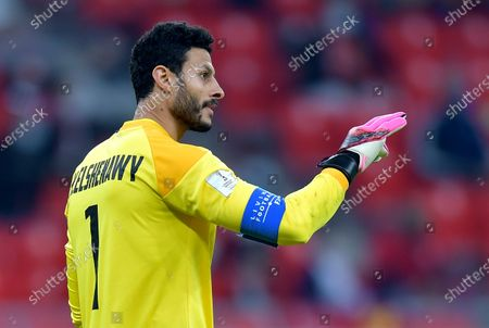Goalkepeer Mohamed El Shenawy of Al Ahly reacts during the semi final soccer match between Al Ahly SC and Bayern Munich at the FIFA Club World Cup in Al Rayyan, Qatar, 08 February 2021.