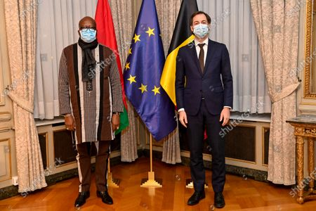 Prime Minister Alexander De Croo and Burkina Faso President Roch Marc Christian Kabore at a meeting between the Belgian Prime Minister and the President of Burkina Faso at the Lambermont residence