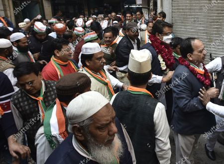Delhi Pradesh Congress Committee president Ch. Anil Kumar with Ex-MLA Ch. Mateen Ahmed lead a padayatra of Congress candidate for the Chauhan Banger MCD Ward No 41-E bye-election, Chaudhary Zubair Ahamad, to file his nomination papers At Chauhan Banger, Seelampur in North East Delhi, India on Monday, February 08, 2021.