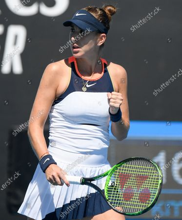Switzerland's Belinda Bencic reacts after winning the first set against United States' Lauren Davis during their first round match at the Australian Open tennis championship in Melbourne, Australia