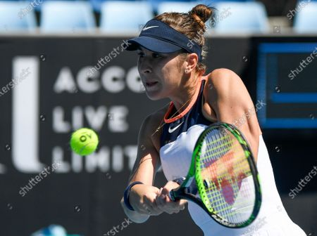 Stock Picture of Switzerland's Belinda Bencic makes a backhand return to United States' Lauren Davis during their first round match at the Australian Open tennis championship in Melbourne, Australia