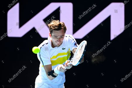 Daniil Medvedev of Russia in action during his first Round Men's singles match against Vasek Pospisil of Canada on Day 2 of the Australian Open at Melbourne Park in Melbourne, Australia, 09 February 2021.