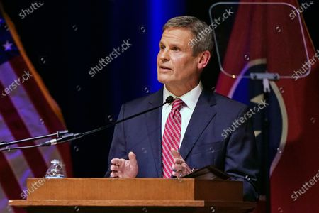 Tennessee Gov. Bill Lee delivers his State of the State Address in War Memorial Auditorium, in Nashville, Tenn