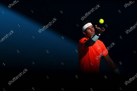 Stock Picture of Rafael Nadal of Spain in action against Laslo Dere of Serbia during their first round men's singles match of the Australian Open tennis tournament at Melbourne Park in Melbourne, Australia, 09 February 2021.