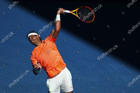 Rafael Nadal of Spain in action against Laslo Dere of Serbia during their first round men's singles match of the Australian Open tennis tournament at Melbourne Park in Melbourne, Australia, 09 February 2021.