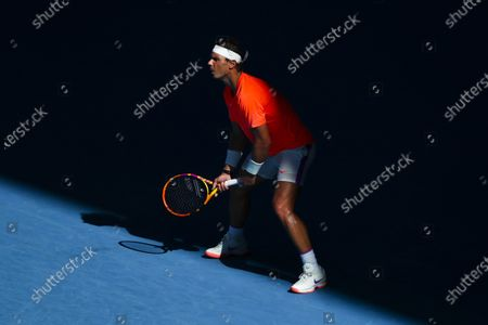 Stock Image of Rafael Nadal of Spain in action against Laslo Dere of Serbia during their first round men's singles match of the Australian Open tennis tournament at Melbourne Park in Melbourne, Australia, 09 February 2021.