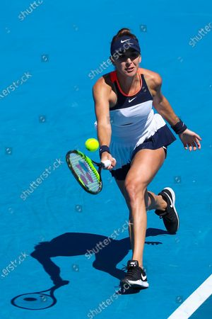 Stock Photo of Belinda Bencic of Switzerland in action against Lauren Davis of the USA during their first round women's singles match of the Australian Open tennis tournament at Melbourne Park in Melbourne, Australia, 09 February 2021.