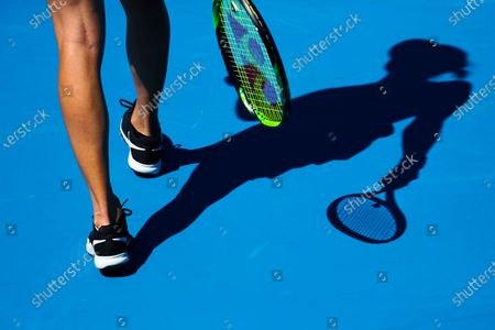 Belinda Bencic of Switzerland in action against Lauren Davis of the USA during their first round women's singles match of the Australian Open tennis tournament at Melbourne Park in Melbourne, Australia, 09 February 2021.