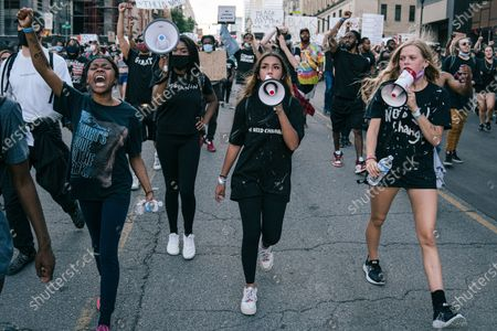 From left to right, Kennedy Greene, Nya Collins, Jade Fuller, and Emma Rose Smith of the Teens 4 Equality lead roughly ten-thousand people through downtown Nashville on one of Tennessee's largest peaceful protests.