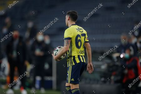Stock Image of Fenerbahce's Mesut Ozil, of Germany during a Turkish Super League soccer match between Fenerbahce and Galatasaray in Istanbul, . Ozil, who is of Turkish descent and was formerly with Arsenal came in as a substitute on his first match with Fenerbahce. Galatasaray won the match 1-0