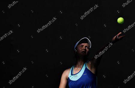Barbora Krejcikova of Czech Republic serves during the women's singles first round match between Barbora Krejcikova of Czech Republic and Zheng Saisai of China at the Australian Open in Melbourne Park, Melbourne, Australia on Feb. 9, 2021.