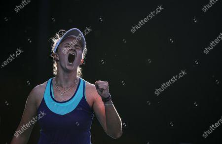 Barbora Krejcikova of Czech Republic celebrates during the women's singles first round match between Barbora Krejcikova of Czech Republic and Zheng Saisai of China at the Australian Open in Melbourne Park, Melbourne, Australia on Feb. 9, 2021.
