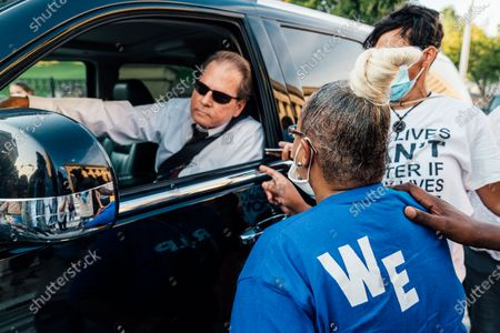 Stock Photo of Vickie Hambrick, the mother of Daniel Hambrick, who was killed by Nashville police in July 2018, confronts Representative Joey Hensley (R-TN) while protestors block his car.