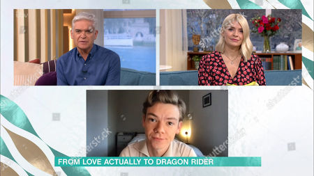 Stock Photo of Phillip Schofield, Holly Willoughby and Thomas Sangster