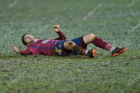 Stephen Ward of Ipswich Town (3) lays on the ground dejected