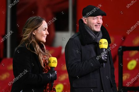 Stock Image of Alan Shearer presents the BBC coverage of the match