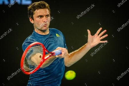French Gilles Simon (ATP 66) pictured in action at a tennis match between French Simon and Greek Tsitsipas, in the first round of the men's singles competition of the 'Australian Open' tennis Grand Slam, Tuesday 09 February 2021 in Melbourne Park, Melbourne, Australia. The 2021 edition of the Australian Grand Slam has been delayed by three weeks because of the pandemic.