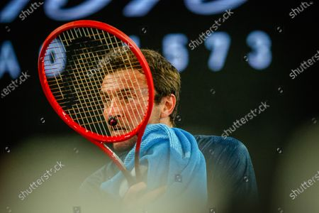 French Gilles Simon (ATP 66) pictured at a tennis match between French Simon and Greek Tsitsipas, in the first round of the men's singles competition of the 'Australian Open' tennis Grand Slam, Tuesday 09 February 2021 in Melbourne Park, Melbourne, Australia. The 2021 edition of the Australian Grand Slam has been delayed by three weeks because of the pandemic.