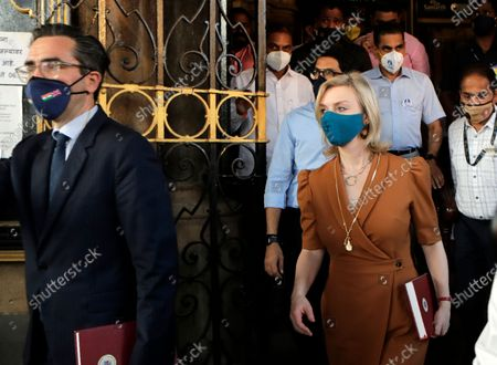 United Kingdom's Secretary of State for International Trade and Minister for Women and Equalities Elizabeth Truss, second right, visits the iconic Brihanmumbai Municipal Corporation headquarters in Mumbai, India