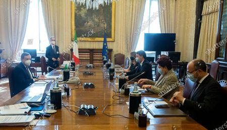 Designated Prime Minister Mario Draghi (L) with the delegation of Italia Viva party Maria Elena Boschi, Matteo Renzi, Teresa Bellanova during the consultations