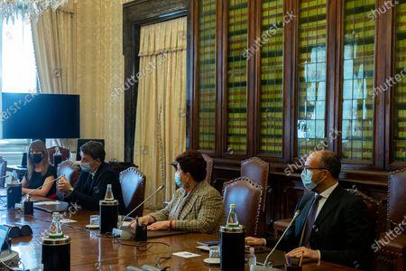 The delegation of Italia Viva party Maria Elena Boschi, Matteo Renzi, Teresa Bellanova during the consultations with the designated Prime Minister Mario Draghi