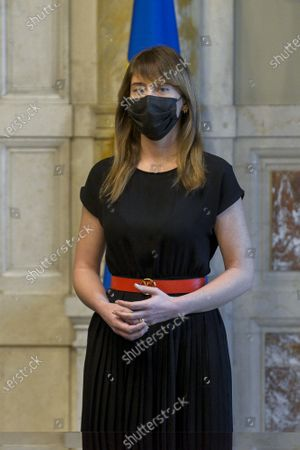 Member of delegation of Italia Viva party Maria Elena Boschi during the press conference after a meeting with premier-designate Mario Draghi for the formation of a new government