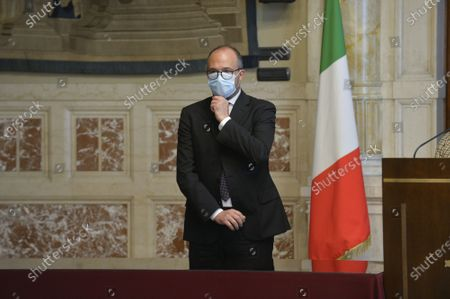 Member of delegation of Italia Viva party Davide Faraone during the press conference after a meeting with premier-designate Mario Draghi for the formation of a new government
