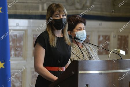 Members of the delegation of Italia Viva party Maria Elena Boschi, Teresa Bellanova during the press conference after a meeting with premier-designate Mario Draghi for the formation of a new government
