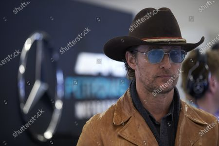 Stock Image of AUSTIN, TEXAS - NOVEMBER 03: Actor Matthew McConaughey during the 2019 Formula One United States Grand Prix at Circuit of the Americas, on November 03, 2019 in Austin, Texas, USA. (Photo by Steve Etherington / LAT Images)