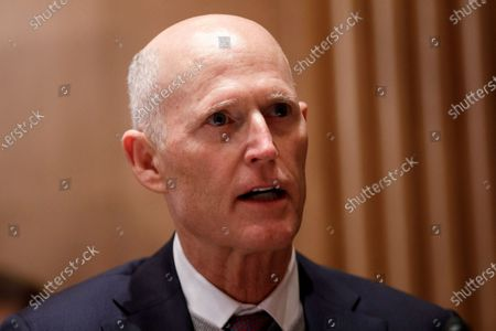 Stock Picture of United States Senator Rick Scott (Republican of Florida), speaks during a Senate Homeland Security and Governmental Affairs Committee confirmation hearing for Neera Tanden, director of the Office and Management and Budget (OMB) nominee for U.S. President Joe Biden, in Washington, D.C., U.S.,. Tanden, who pledged to work with both parties after drawing sharp criticism from Republicans for sniping at them on social media, worked on the Affordable Care Act during the Obama years and was an aide to Hillary Clinton from her time as first lady.