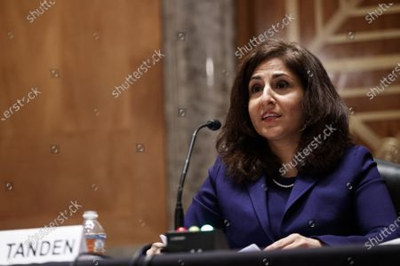 Neera Tanden, director of the Office and Management and Budget (OMB) nominee for U.S. President Joe Biden, speaks during a Senate Homeland Security and Governmental Affairs Committee confirmation hearing in Washington, D.C., U.S.,. Tanden, who pledged to work with both parties after drawing sharp criticism from Republicans for sniping at them on social media, worked on the Affordable Care Act during the Obama years and was an aide to Hillary Clinton from her time as first lady.