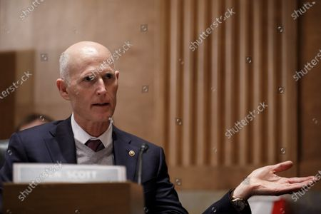 United States Senator Rick Scott (Republican of Florida), speaks during a Senate Homeland Security and Governmental Affairs Committee confirmation hearing for Neera Tanden, director of the Office and Management and Budget (OMB) nominee for U.S. President Joe Biden, in Washington, D.C., U.S.,. Tanden, who pledged to work with both parties after drawing sharp criticism from Republicans for sniping at them on social media, worked on the Affordable Care Act during the Obama years and was an aide to Hillary Clinton from her time as first lady.