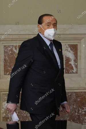 Silvio Berlusconi holds a press conference after a meeting with premier-designate Mario Draghi at the Lower House in Rome, Italy, 09 February 2021. Designated prime minister Draghi is holding second round of consultations with Italian parties for the formation of a new government after the previous coalition collapsed. Rome, 9 Feb 2021