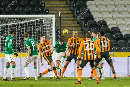 Lincoln City defender Joe Walsh (16) heads away in a goalmouth scramble during the EFL Sky Bet League 1 match between Hull City and Lincoln City at the KCOM Stadium, Kingston upon Hull